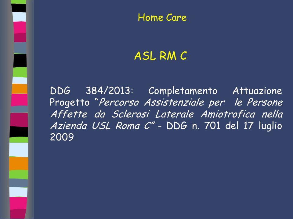 Home Care ASL RM C DDG 384/2013: Completamento Attuazione Progetto Percorso Assistenziale per le Persone Affette da Sclerosi Laterale Amiotrofica nell