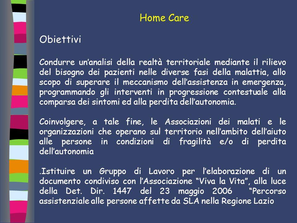 Home Care Obiettivi Condurre unanalisi della realtà territoriale mediante il rilievo del bisogno dei pazienti nelle diverse fasi della malattia, allo