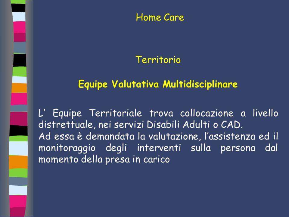 Territorio Equipe Valutativa Multidisciplinare L Equipe Territoriale trova collocazione a livello distrettuale, nei servizi Disabili Adulti o CAD. Ad