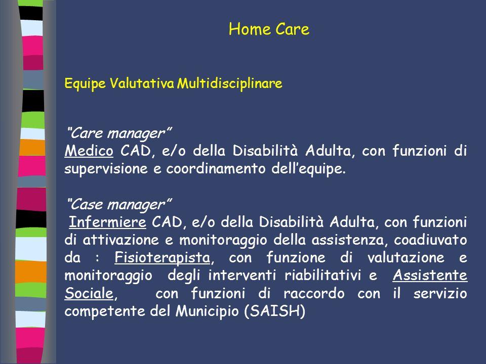 Home Care Equipe Valutativa Multidisciplinare Care manager Medico CAD, e/o della Disabilità Adulta, con funzioni di supervisione e coordinamento delle