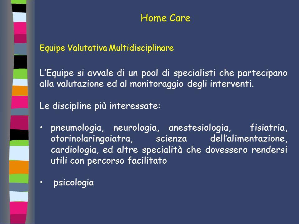 Home Care Equipe Valutativa Multidisciplinare LEquipe si avvale di un pool di specialisti che partecipano alla valutazione ed al monitoraggio degli in