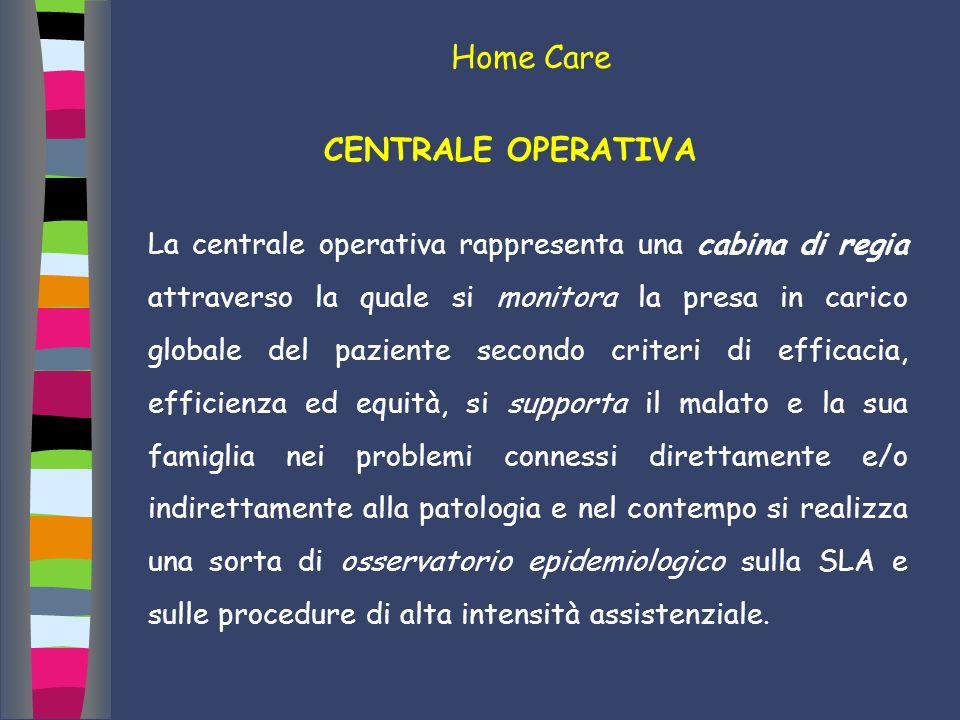 Home Care CENTRALE OPERATIVA La centrale operativa rappresenta una cabina di regia attraverso la quale si monitora la presa in carico globale del pazi