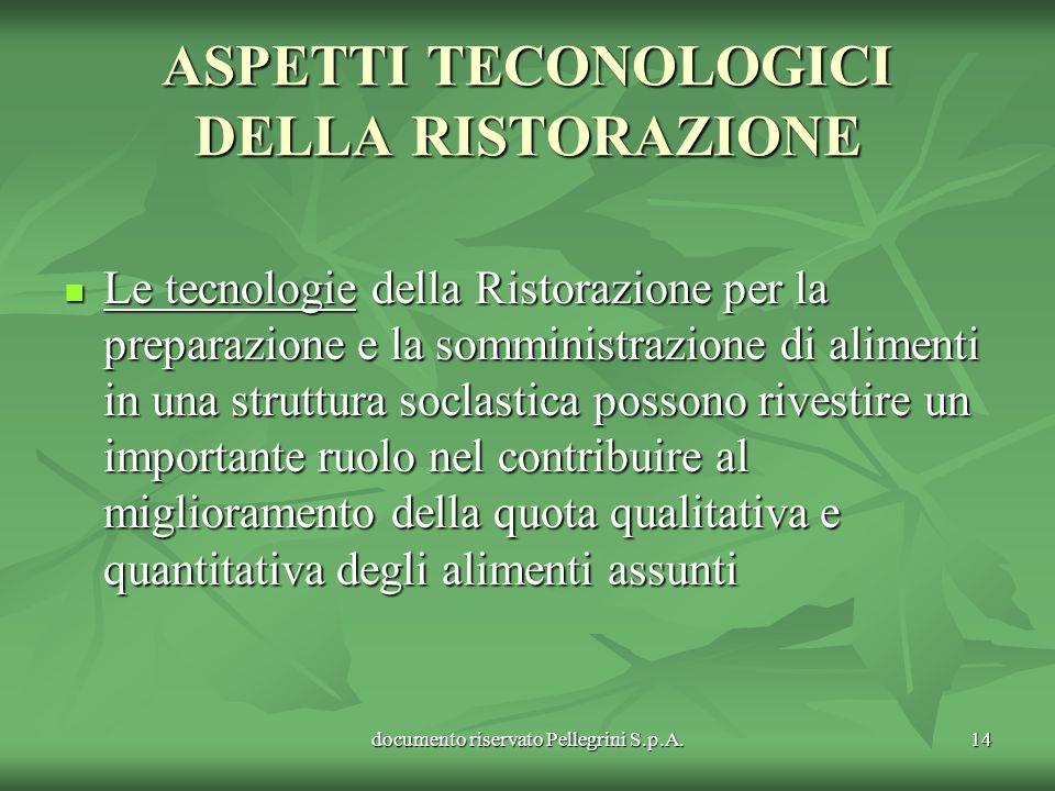 documento riservato Pellegrini S.p.A.14 ASPETTI TECONOLOGICI DELLA RISTORAZIONE Le tecnologie della Ristorazione per la preparazione e la somministraz