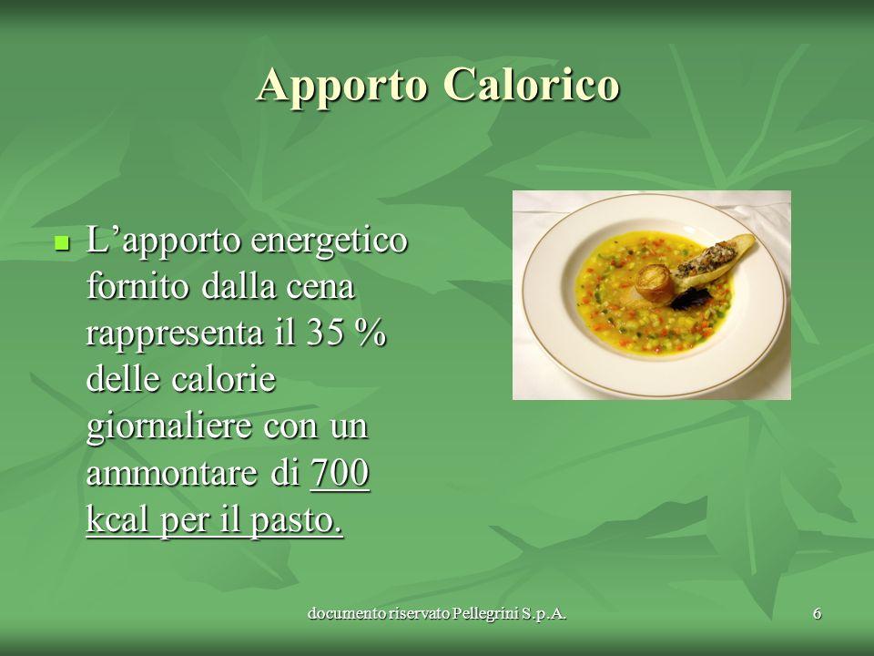 documento riservato Pellegrini S.p.A.6 Apporto Calorico Lapporto energetico fornito dalla cena rappresenta il 35 % delle calorie giornaliere con un am