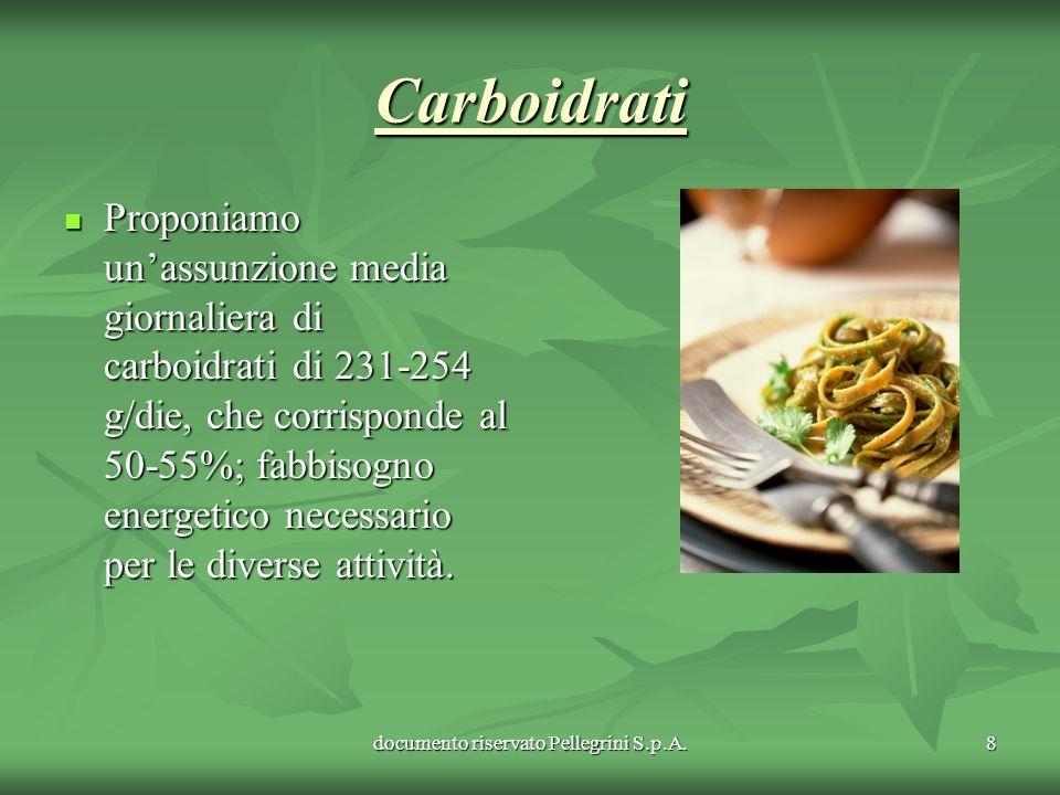 documento riservato Pellegrini S.p.A.8 Carboidrati Carboidrati Proponiamo unassunzione media giornaliera di carboidrati di 231-254 g/die, che corrispo
