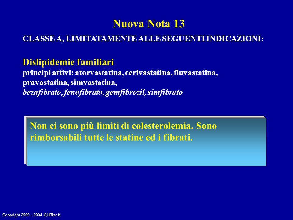 CLASSE A, LIMITATAMENTE ALLE SEGUENTI INDICAZIONI: Dislipidemie familiari principi attivi: atorvastatina, cerivastatina, fluvastatina, pravastatina, s