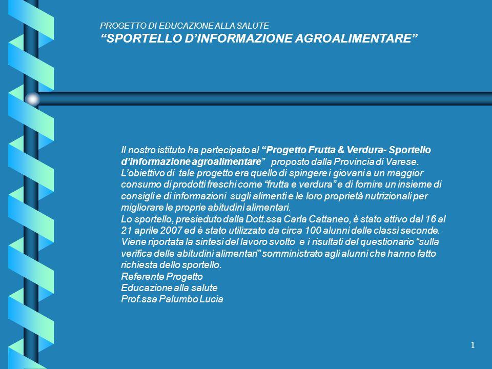 1 PROGETTO DI EDUCAZIONE ALLA SALUTE SPORTELLO DINFORMAZIONE AGROALIMENTARE Il nostro istituto ha partecipato al Progetto Frutta & Verdura- Sportello dinformazione agroalimentare proposto dalla Provincia di Varese.