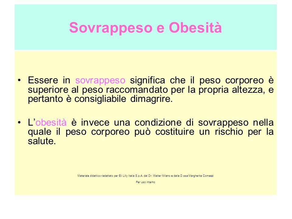 Sovrappeso e Obesità Essere in sovrappeso significa che il peso corporeo è superiore al peso raccomandato per la propria altezza, e pertanto è consigl