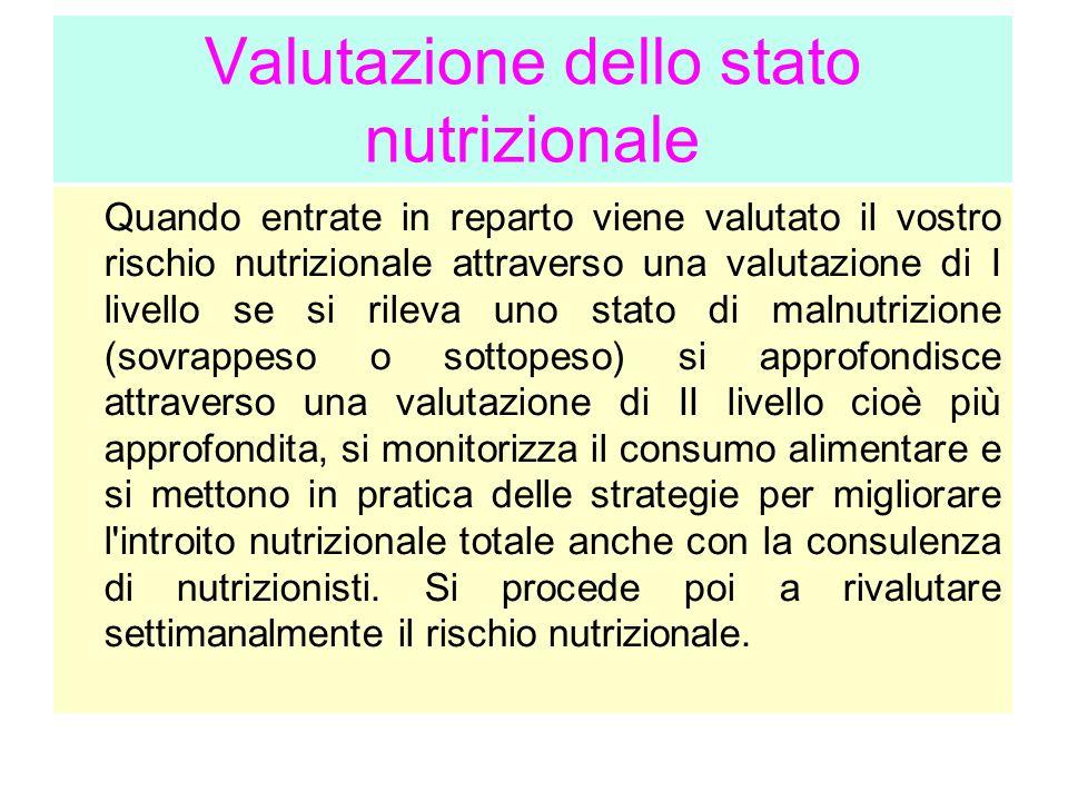Valutazione dello stato nutrizionale Quando entrate in reparto viene valutato il vostro rischio nutrizionale attraverso una valutazione di I livello s