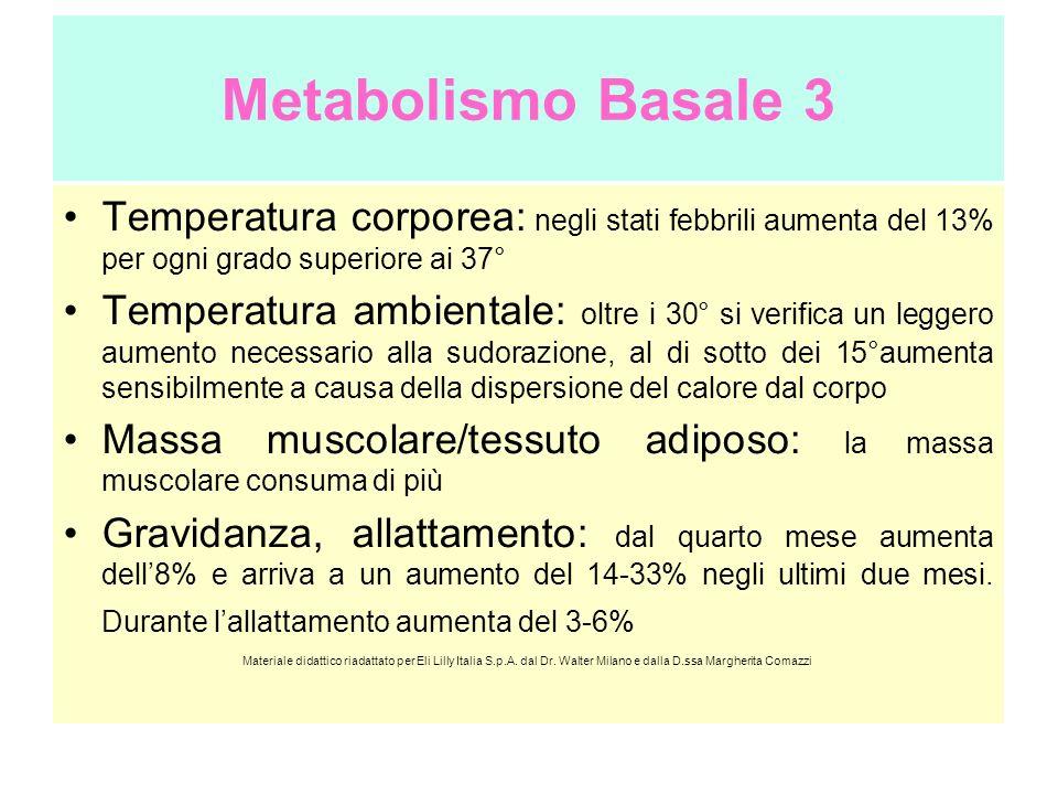 Metabolismo Basale 3 Temperatura corporea: negli stati febbrili aumenta del 13% per ogni grado superiore ai 37° Temperatura ambientale: oltre i 30° si