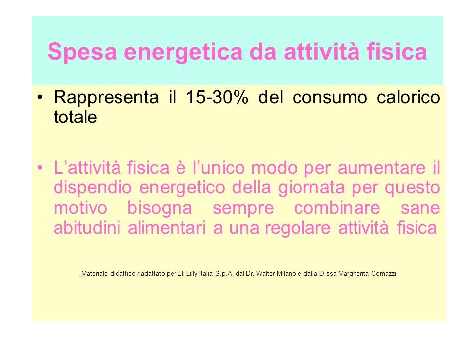 Spesa energetica da attività fisica Rappresenta il 15-30% del consumo calorico totale Lattività fisica è lunico modo per aumentare il dispendio energe