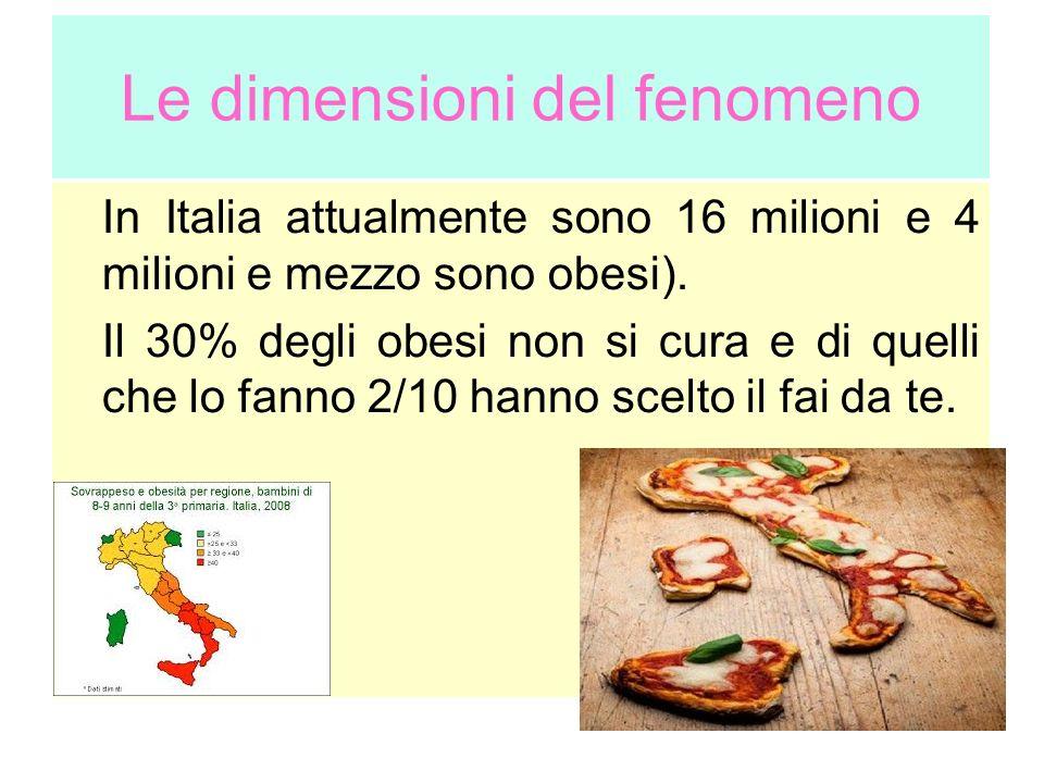 Le dimensioni del fenomeno In Italia attualmente sono 16 milioni e 4 milioni e mezzo sono obesi). Il 30% degli obesi non si cura e di quelli che lo fa