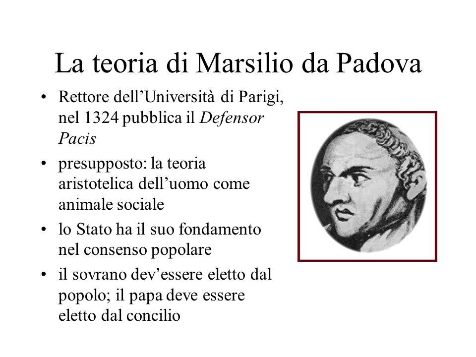 La teoria di Marsilio da Padova Rettore dellUniversità di Parigi, nel 1324 pubblica il Defensor Pacis presupposto: la teoria aristotelica delluomo com