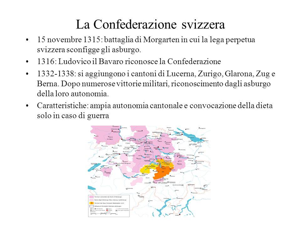 La Confederazione svizzera 15 novembre 1315: battaglia di Morgarten in cui la lega perpetua svizzera sconfigge gli asburgo. 1316: Ludovico il Bavaro r