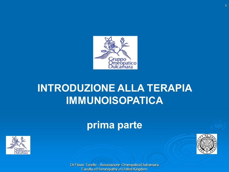Dr Flavio Tonello - Associazione Omeopatica Dulcamara Faculty of Homeopathy of United Kingdom INTRODUZIONE ALLA TERAPIA IMMUNOISOPATICA prima parte 1