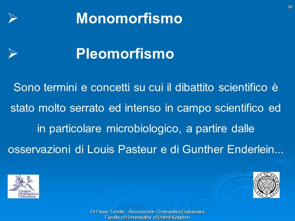 Dr Flavio Tonello - Associazione Omeopatica Dulcamara Faculty of Homeopathy of United Kingdom Monomorfismo Pleomorfismo Sono termini e concetti su cui