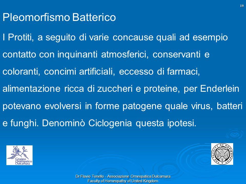 Dr Flavio Tonello - Associazione Omeopatica Dulcamara Faculty of Homeopathy of United Kingdom Pleomorfismo Batterico I Protiti, a seguito di varie con