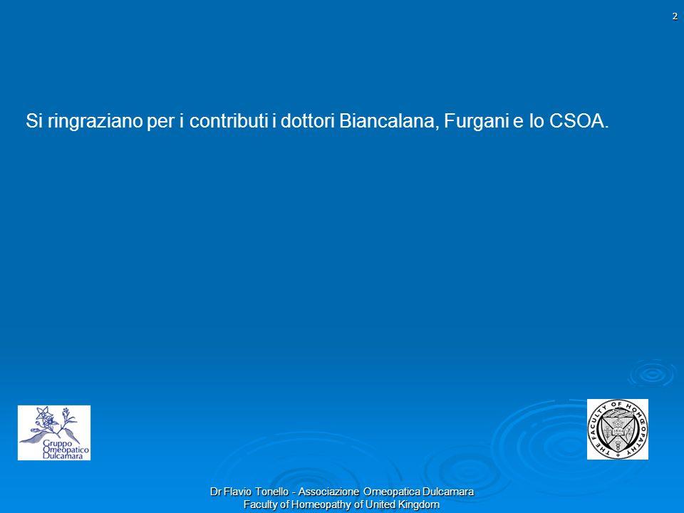 Dr Flavio Tonello - Associazione Omeopatica Dulcamara Faculty of Homeopathy of United Kingdom Si ringraziano per i contributi i dottori Biancalana, Fu