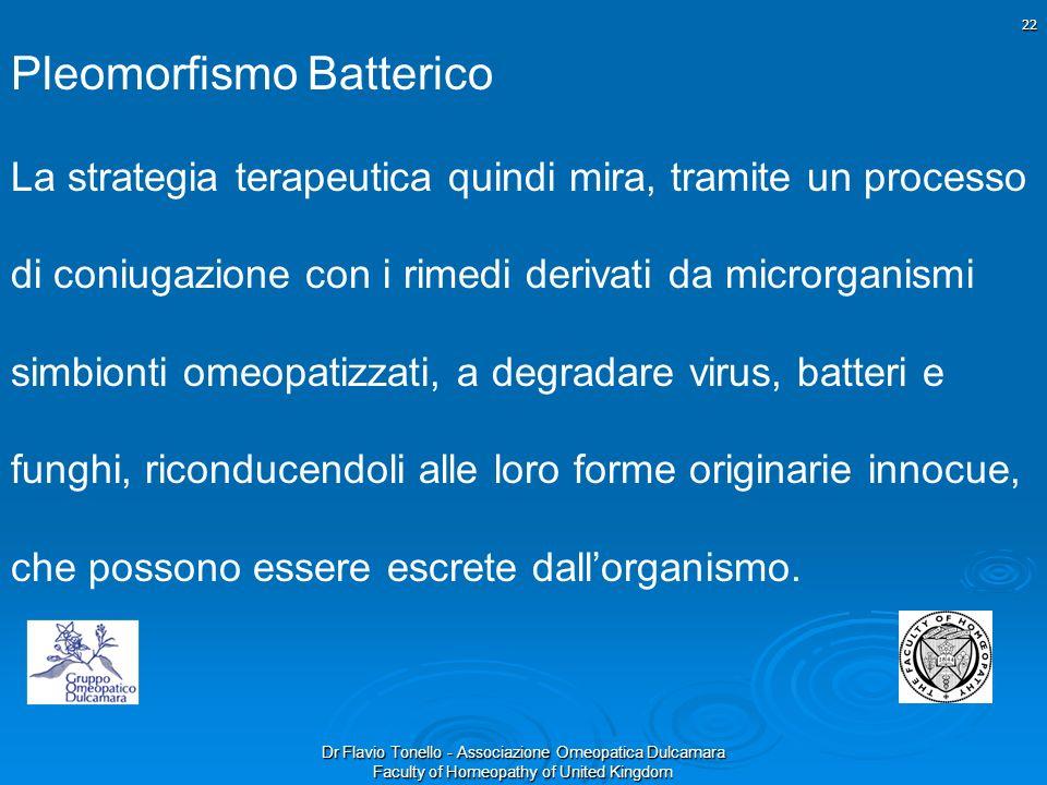 Dr Flavio Tonello - Associazione Omeopatica Dulcamara Faculty of Homeopathy of United Kingdom Pleomorfismo Batterico La strategia terapeutica quindi m