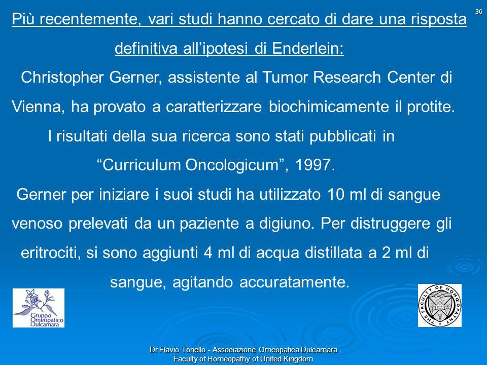 Dr Flavio Tonello - Associazione Omeopatica Dulcamara Faculty of Homeopathy of United Kingdom Più recentemente, vari studi hanno cercato di dare una r