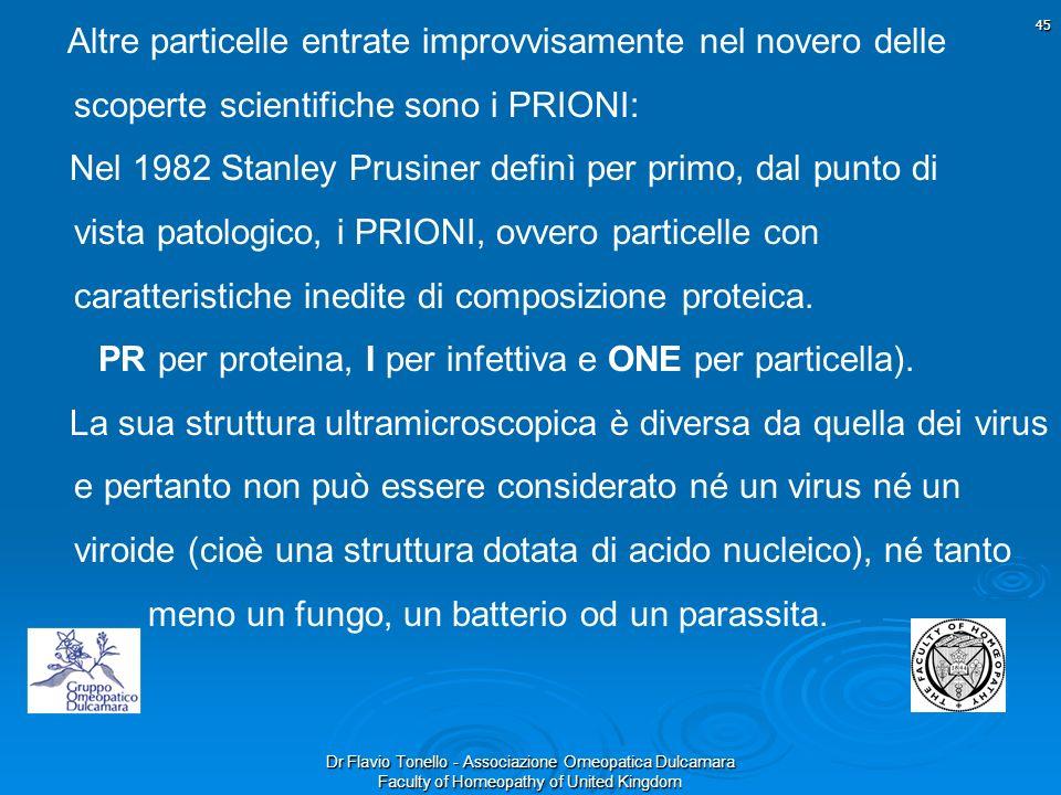Dr Flavio Tonello - Associazione Omeopatica Dulcamara Faculty of Homeopathy of United Kingdom 45 Altre particelle entrate improvvisamente nel novero d