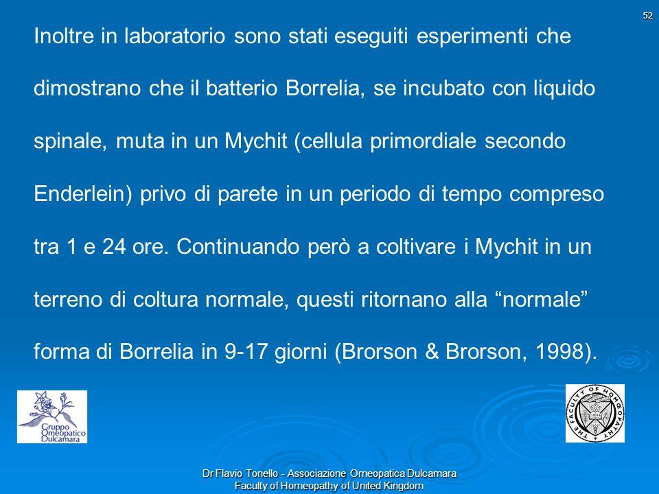 Dr Flavio Tonello - Associazione Omeopatica Dulcamara Faculty of Homeopathy of United Kingdom Inoltre in laboratorio sono stati eseguiti esperimenti c