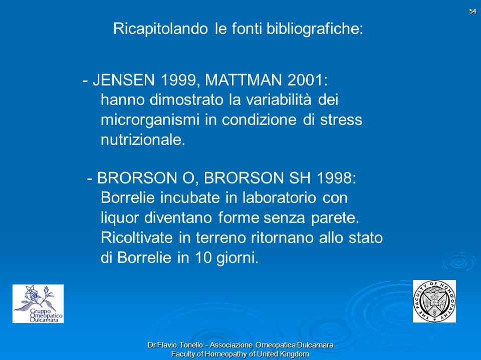 Dr Flavio Tonello - Associazione Omeopatica Dulcamara Faculty of Homeopathy of United Kingdom 54 Ricapitolando le fonti bibliografiche: - JENSEN 1999,
