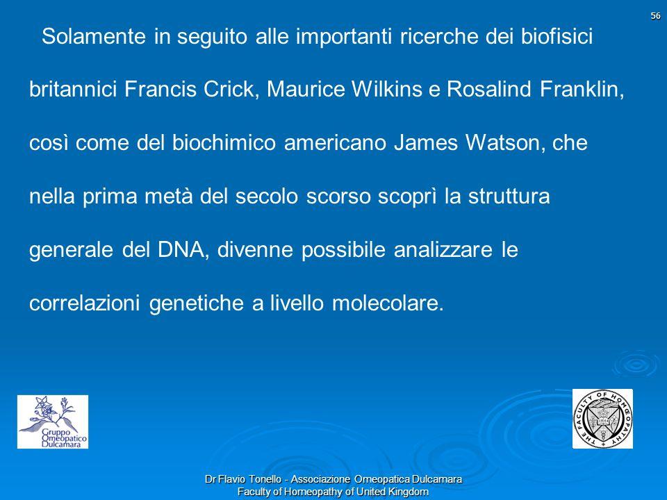 Dr Flavio Tonello - Associazione Omeopatica Dulcamara Faculty of Homeopathy of United Kingdom Solamente in seguito alle importanti ricerche dei biofis