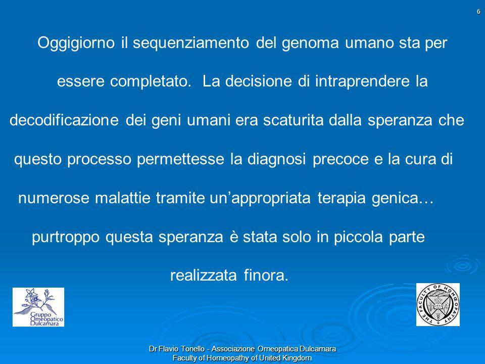 Dr Flavio Tonello - Associazione Omeopatica Dulcamara Faculty of Homeopathy of United Kingdom Oggigiorno il sequenziamento del genoma umano sta per es