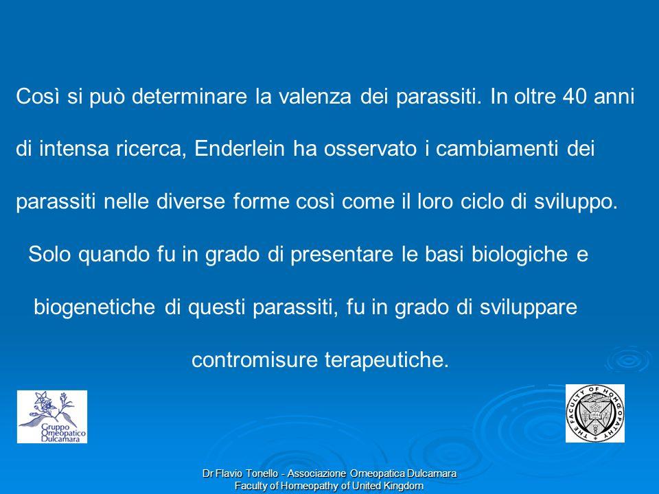 Dr Flavio Tonello - Associazione Omeopatica Dulcamara Faculty of Homeopathy of United Kingdom Così si può determinare la valenza dei parassiti. In olt
