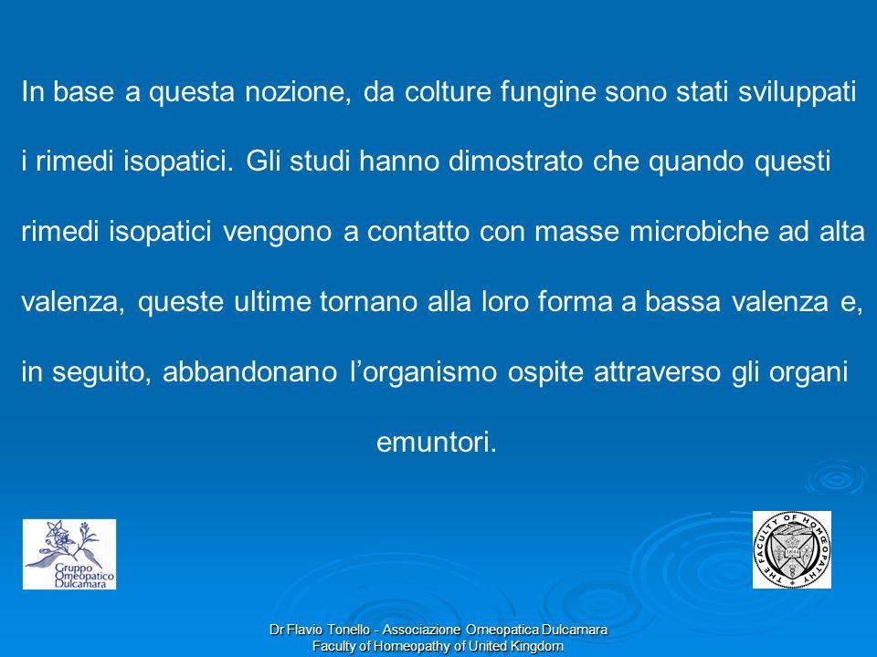Dr Flavio Tonello - Associazione Omeopatica Dulcamara Faculty of Homeopathy of United Kingdom In base a questa nozione, da colture fungine sono stati