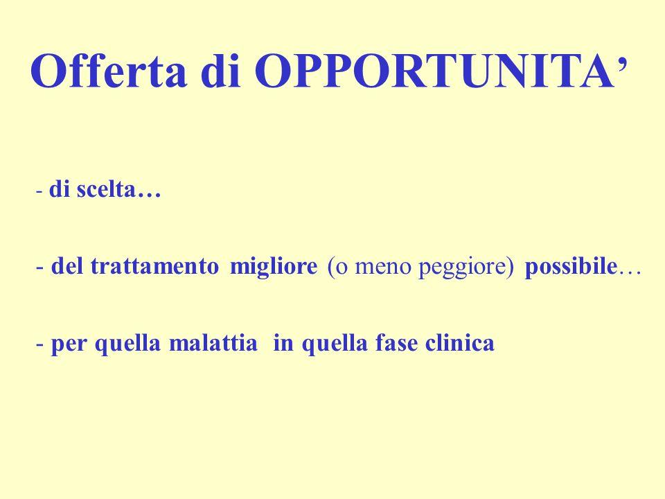 Offerta di OPPORTUNITA - di scelta… - del trattamento migliore (o meno peggiore) possibile… - per quella malattia in quella fase clinica