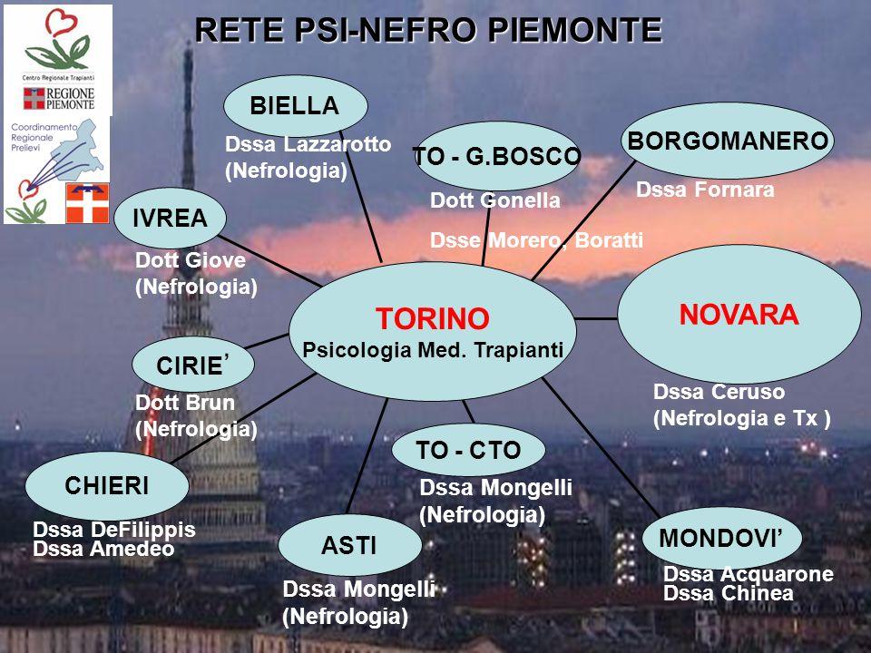 IVREA CIRIE CHIERI ASTI TO - CTO MONDOVI NOVARA BORGOMANERO TO - G.BOSCO TORINO Psicologia Med.