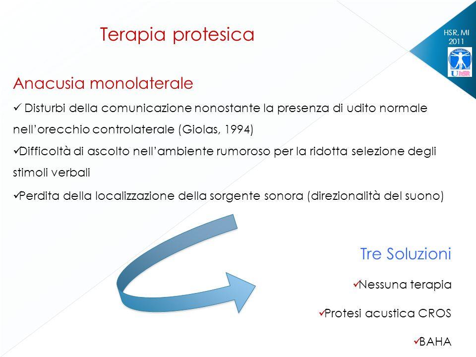 HSR, MI 2011 Terapia protesica Anacusia monolaterale Disturbi della comunicazione nonostante la presenza di udito normale nellorecchio controlaterale