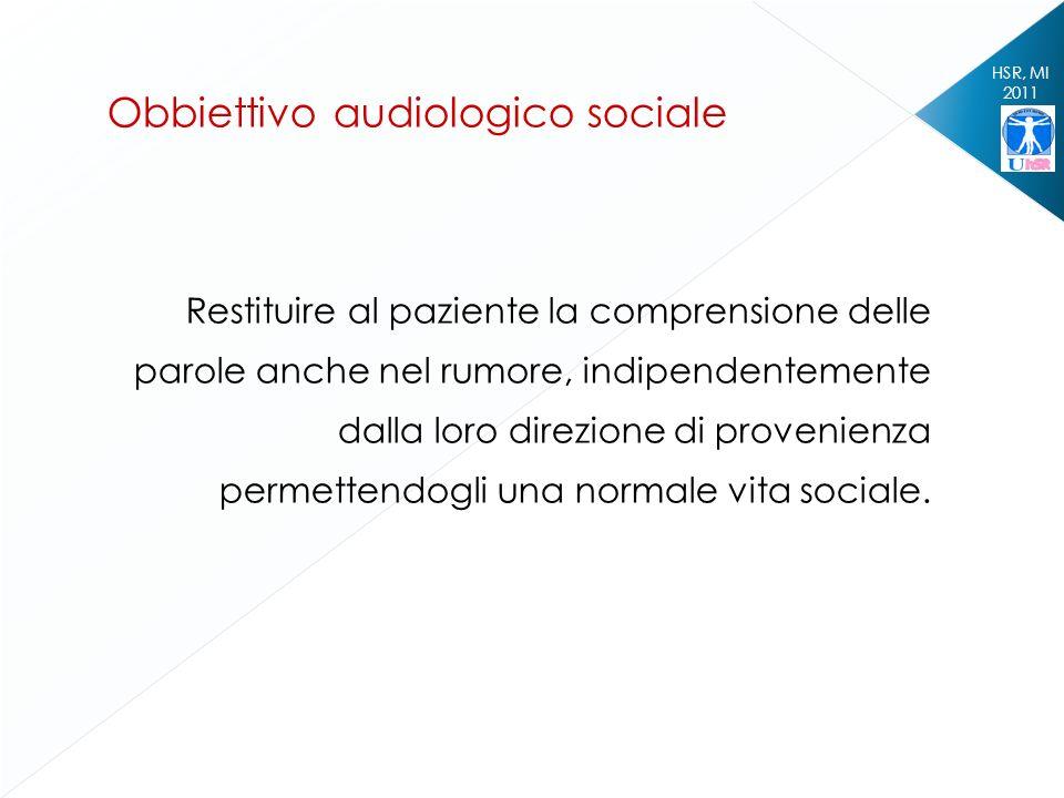 HSR, MI 2011 Restituire al paziente la comprensione delle parole anche nel rumore, indipendentemente dalla loro direzione di provenienza permettendogl