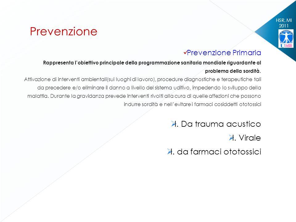 HSR, MI 2011 Prevenzione Prevenzione Primaria Rappresenta lobiettivo principale della programmazione sanitaria mondiale riguardante al problema della