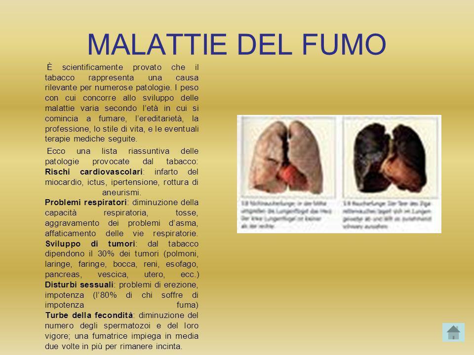 MALATTIE DEL FUMO È scientificamente provato che il tabacco rappresenta una causa rilevante per numerose patologie. I peso con cui concorre allo svilu