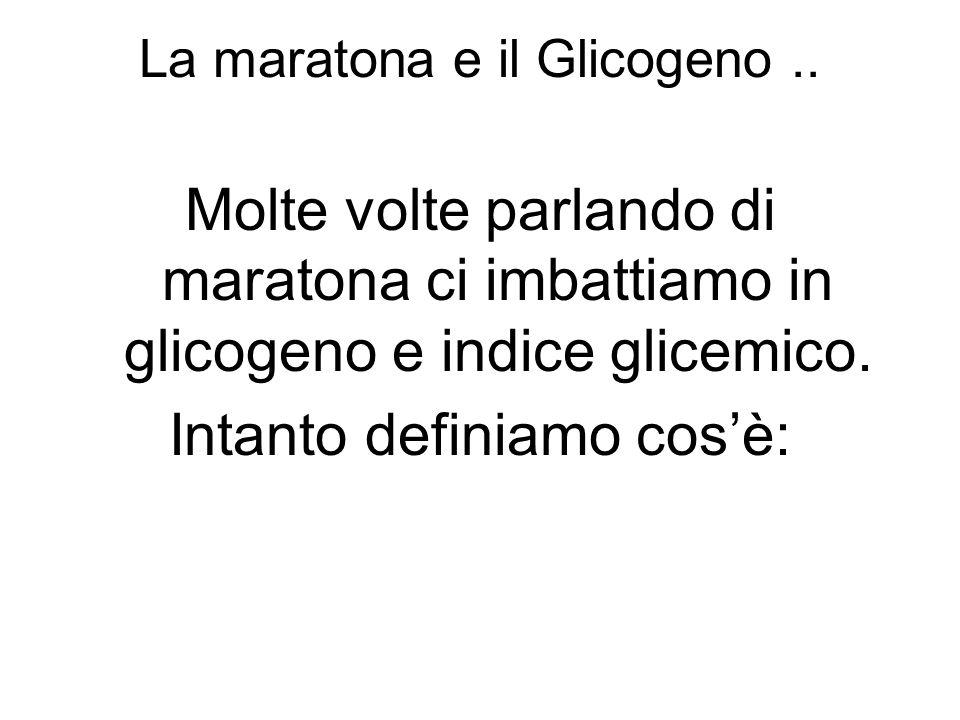 La maratona e il Glicogeno.. Molte volte parlando di maratona ci imbattiamo in glicogeno e indice glicemico. Intanto definiamo cosè: