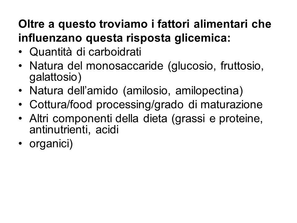 Oltre a questo troviamo i fattori alimentari che influenzano questa risposta glicemica: Quantità di carboidrati Natura del monosaccaride (glucosio, fr