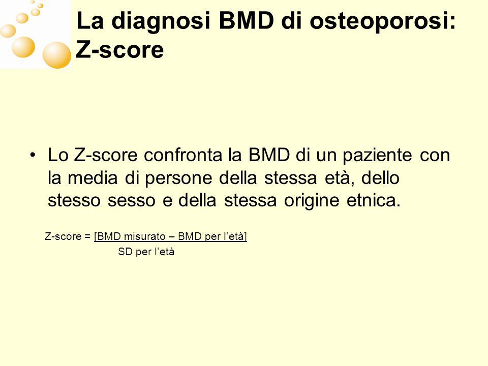 La diagnosi BMD di osteoporosi: Z-score Lo Z-score confronta la BMD di un paziente con la media di persone della stessa età, dello stesso sesso e dell