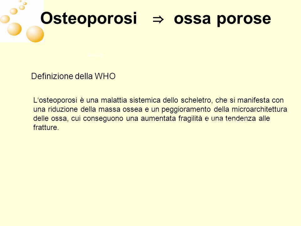 Definizione della WHO Losteoporosi è una malattia sistemica dello scheletro, che si manifesta con una riduzione della massa ossea e un peggioramento d