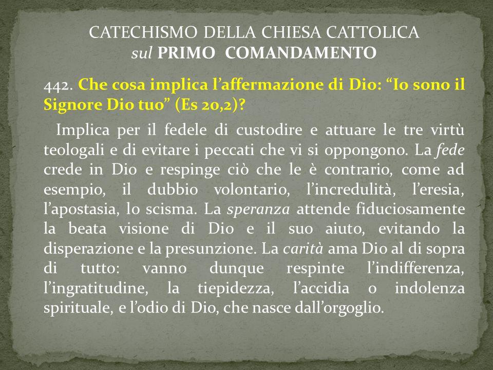 CATECHISMO DELLA CHIESA CATTOLICA sul PRIMO COMANDAMENTO 442. Che cosa implica laffermazione di Dio: Io sono il Signore Dio tuo (Es 20,2)? Implica per