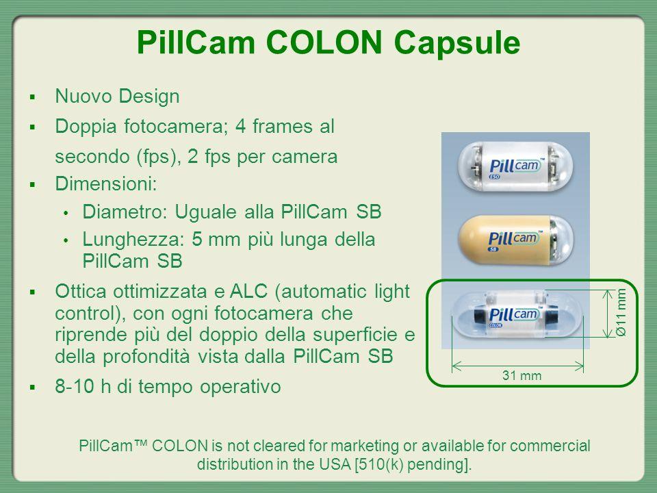 Nuovo Design Doppia fotocamera; 4 frames al secondo (fps), 2 fps per camera Dimensioni: Diametro: Uguale alla PillCam SB Lunghezza: 5 mm più lunga del