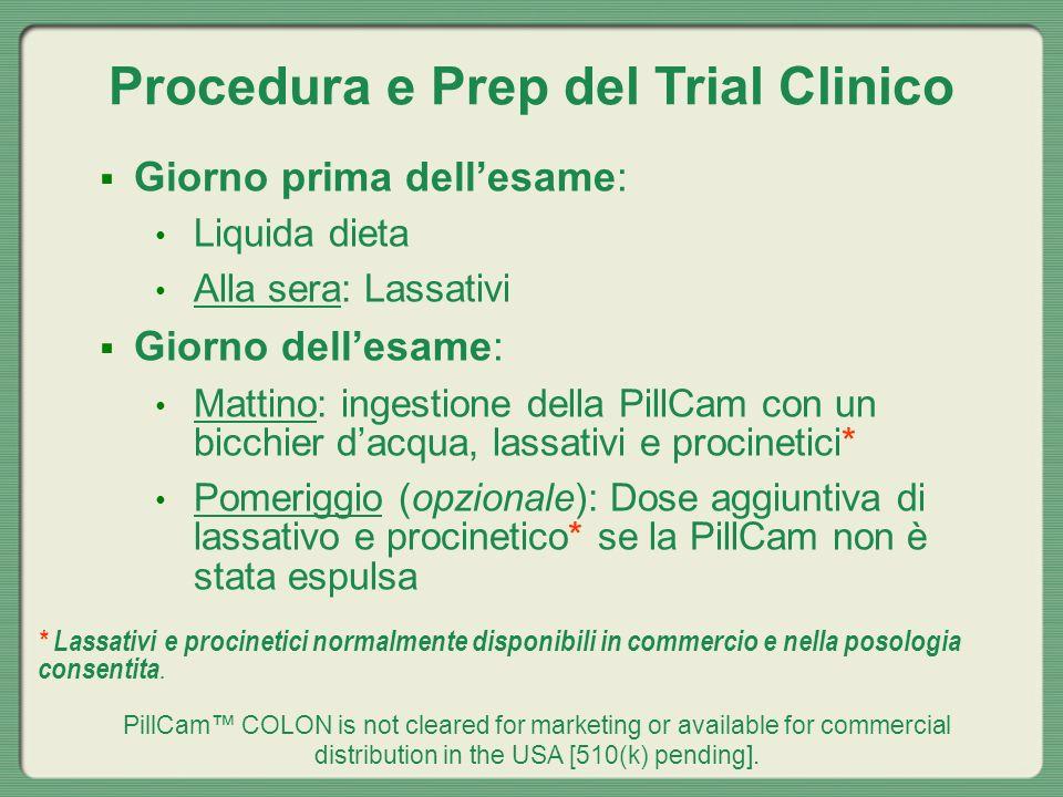 Procedura e Prep del Trial Clinico Giorno prima dellesame: Liquida dieta Alla sera: Lassativi Giorno dellesame: Mattino: ingestione della PillCam con