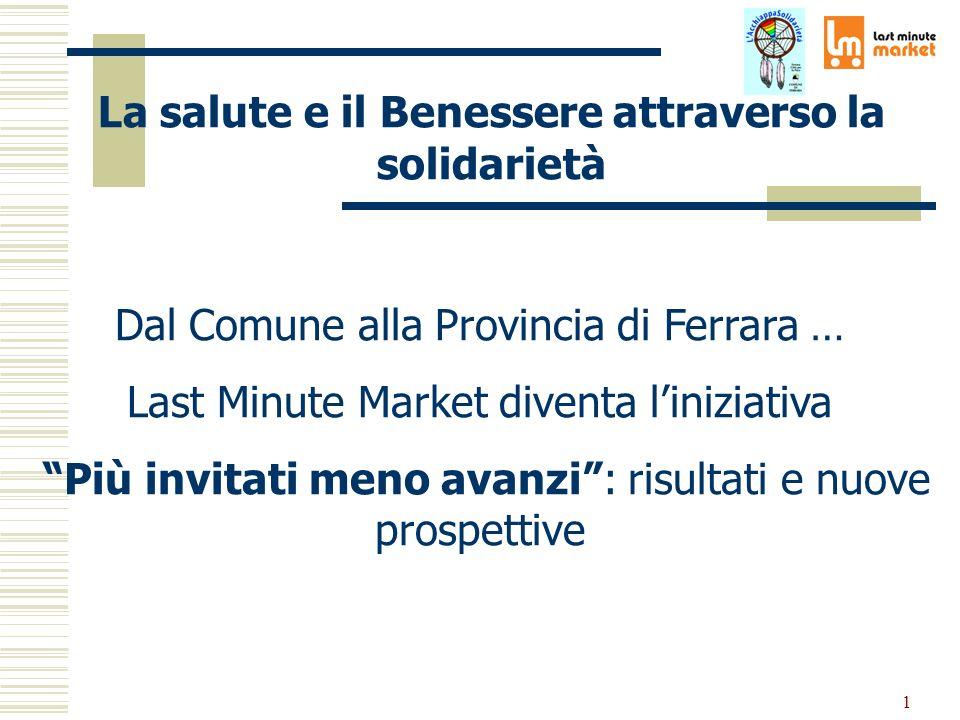 1 Dal Comune alla Provincia di Ferrara … Last Minute Market diventa liniziativa Più invitati meno avanzi: risultati e nuove prospettive La salute e il