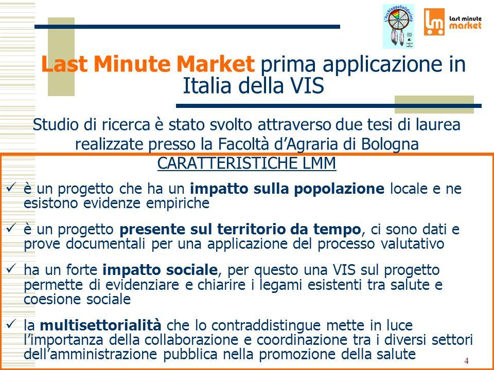 4 Last Minute Market prima applicazione in Italia della VIS CARATTERISTICHE LMM è un progetto che ha un impatto sulla popolazione locale e ne esistono