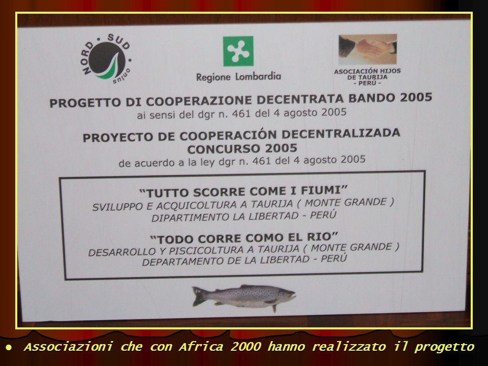 Associazioni che con Africa 2000 hanno realizzato il progetto Associazioni che con Africa 2000 hanno realizzato il progetto