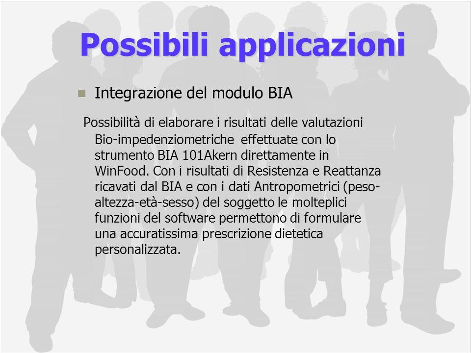 Integrazione del modulo BIA Possibilità di elaborare i risultati delle valutazioni Bio-impedenziometriche effettuate con lo strumento BIA 101Akern direttamente in WinFood.