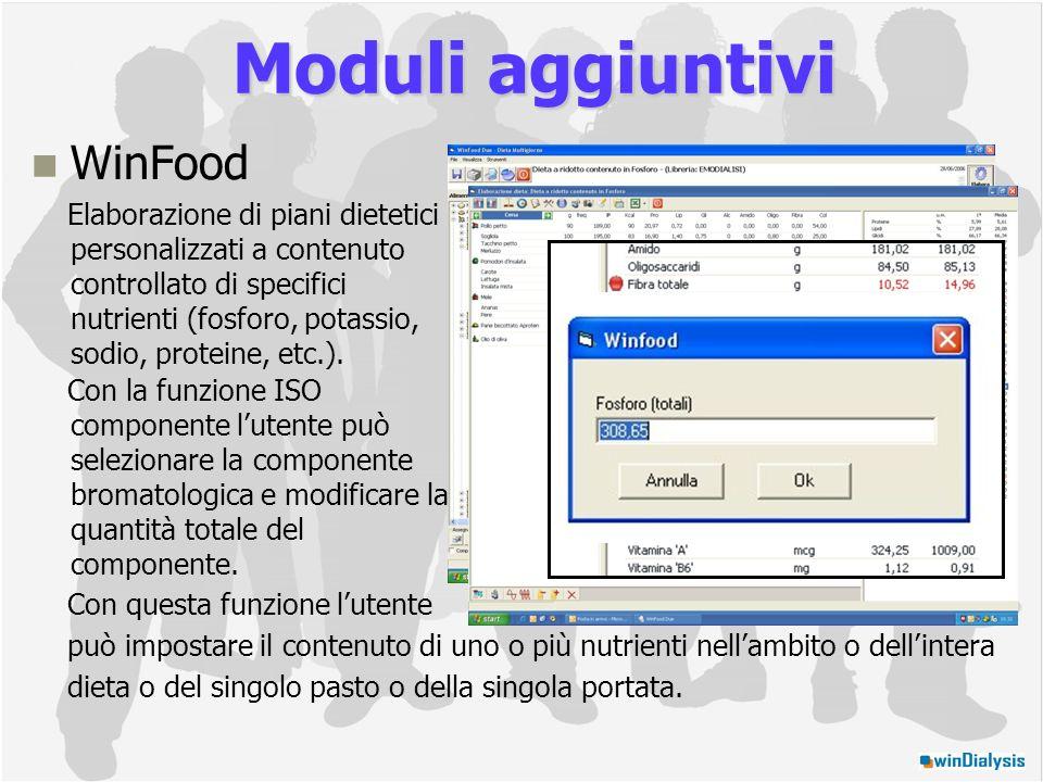 WinFood Elaborazione di piani dietetici personalizzati a contenuto controllato di specifici nutrienti (fosforo, potassio, sodio, proteine, etc.).