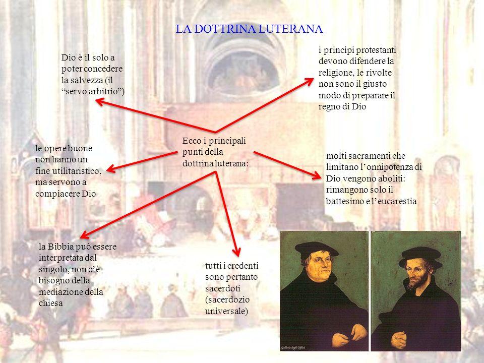 LA DOTTRINA LUTERANA Ecco i principali punti della dottrina luterana: Dio è il solo a poter concedere la salvezza (il servo arbitrio) le opere buone n